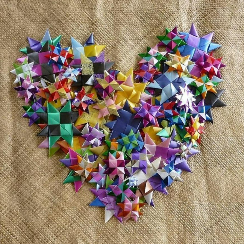 Heart shape made from woven stars for One Billion Stars.