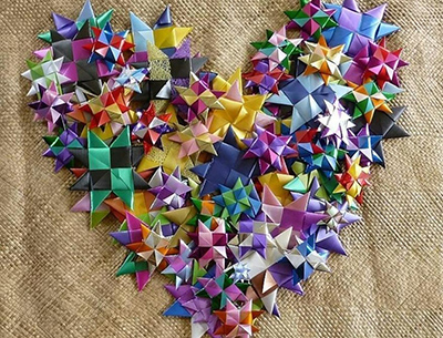 Beautiful heart shape made from woven stars for One Billion Stars.
